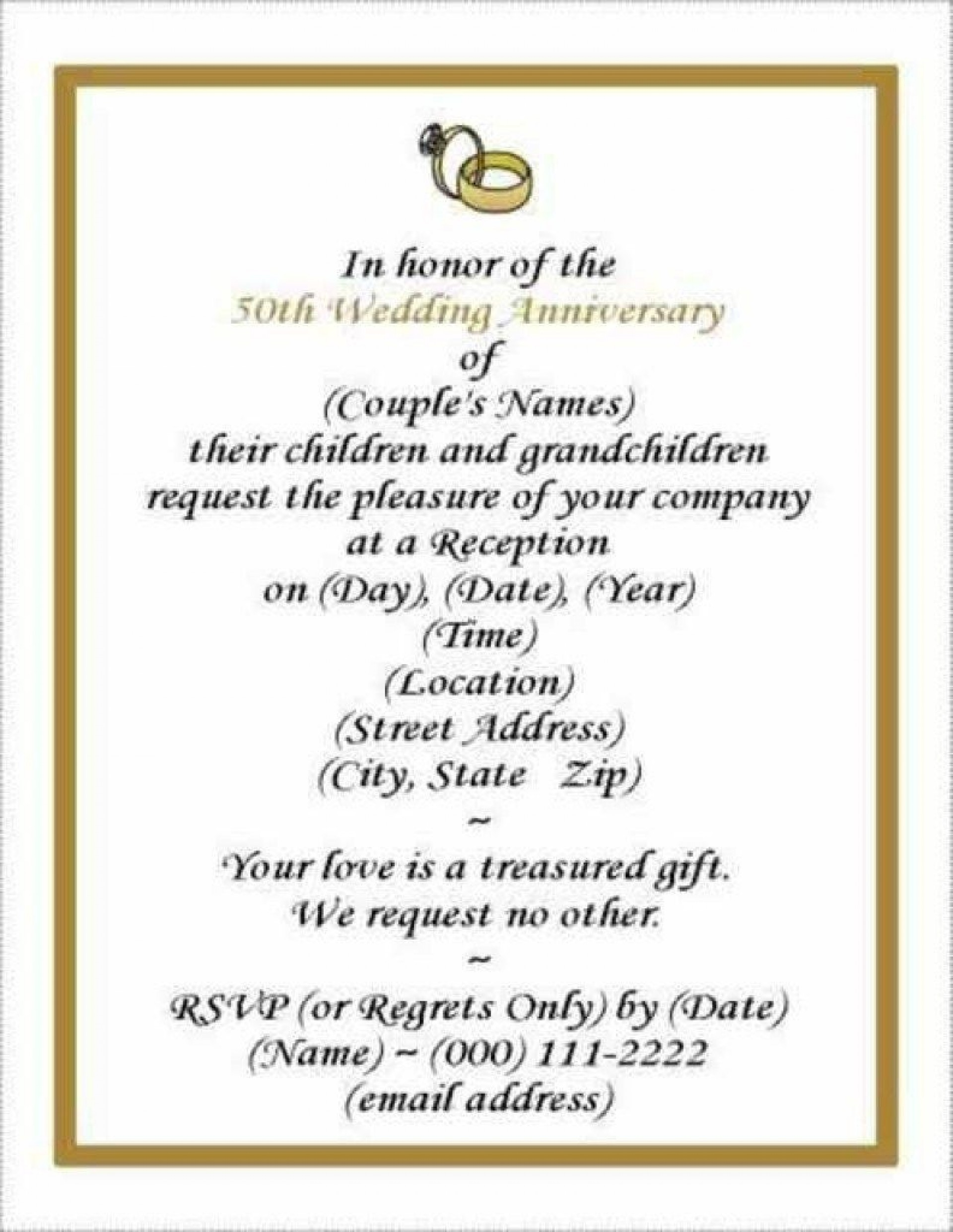 006 Wonderful 50th Wedding Anniversary Invitation Template Free Download Picture  Golden1920