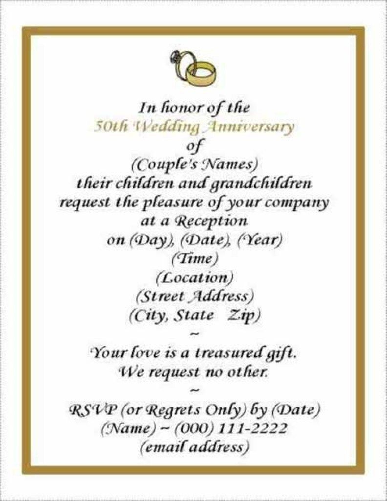 006 Wonderful 50th Wedding Anniversary Invitation Template Free Download Picture  GoldenFull