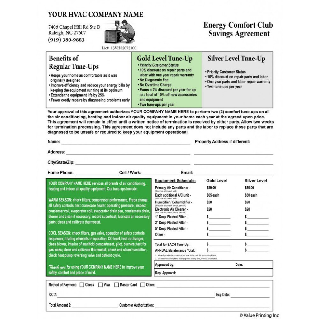 006 Wonderful Hvac Service Agreement Template Concept  Contract Form Maintenance PdfLarge