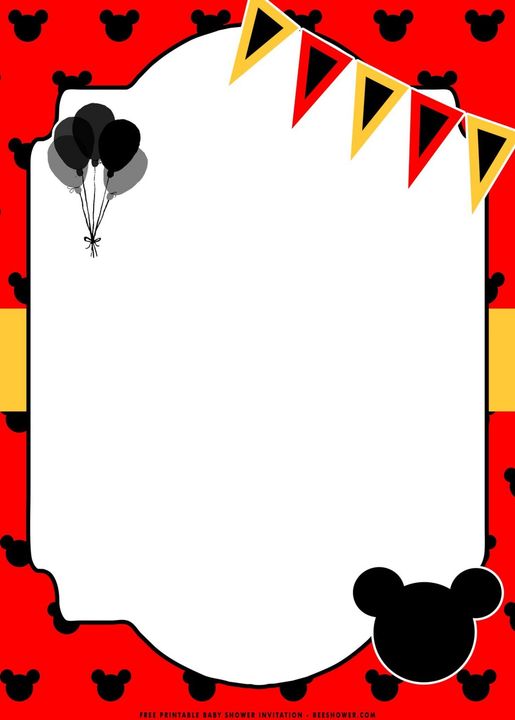 006 Wonderful Mickey Mouse Invitation Template Concept  Free Diy 1st Birthday Baby DownloadLarge