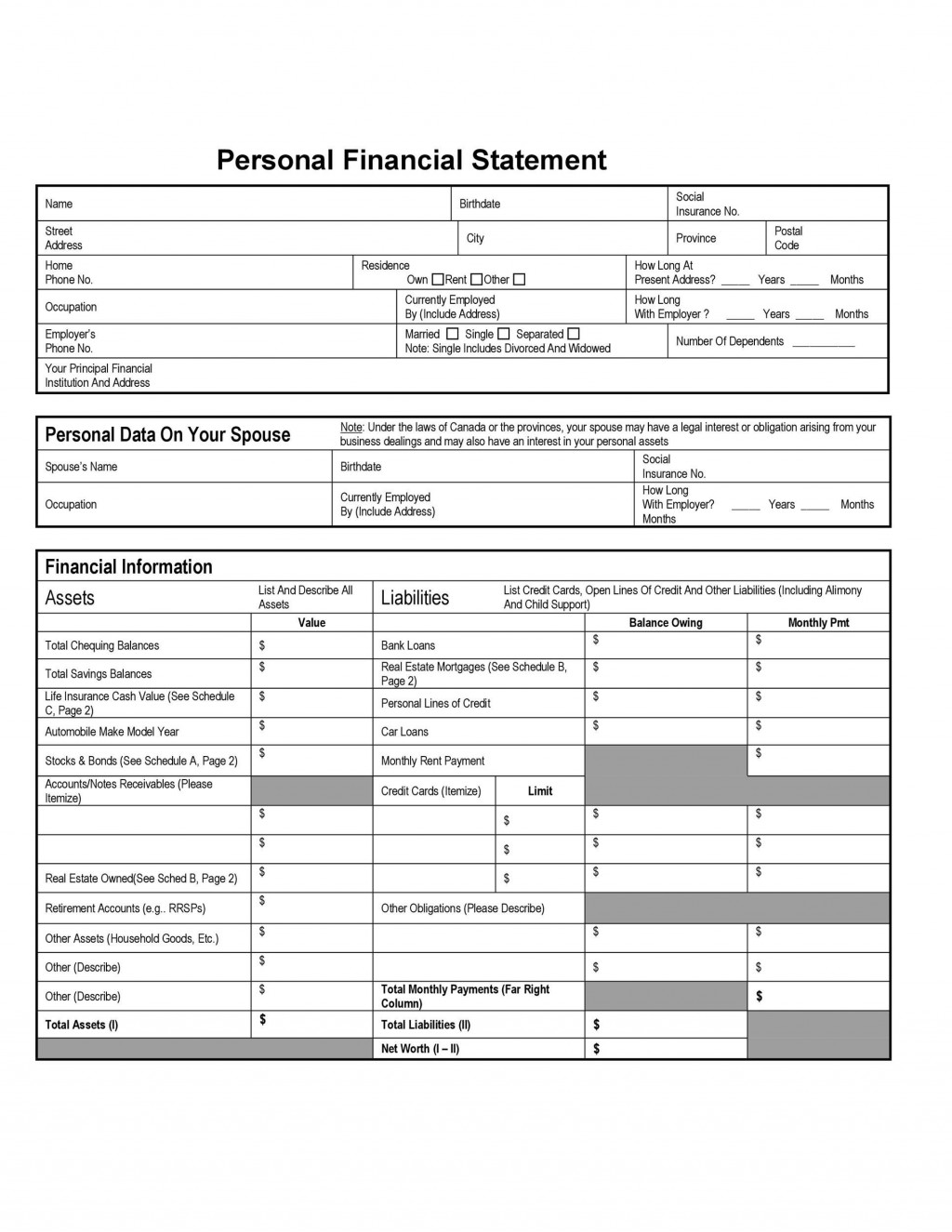 006 Wonderful Personal Financial Statement Template Excel Example  Free SbaLarge