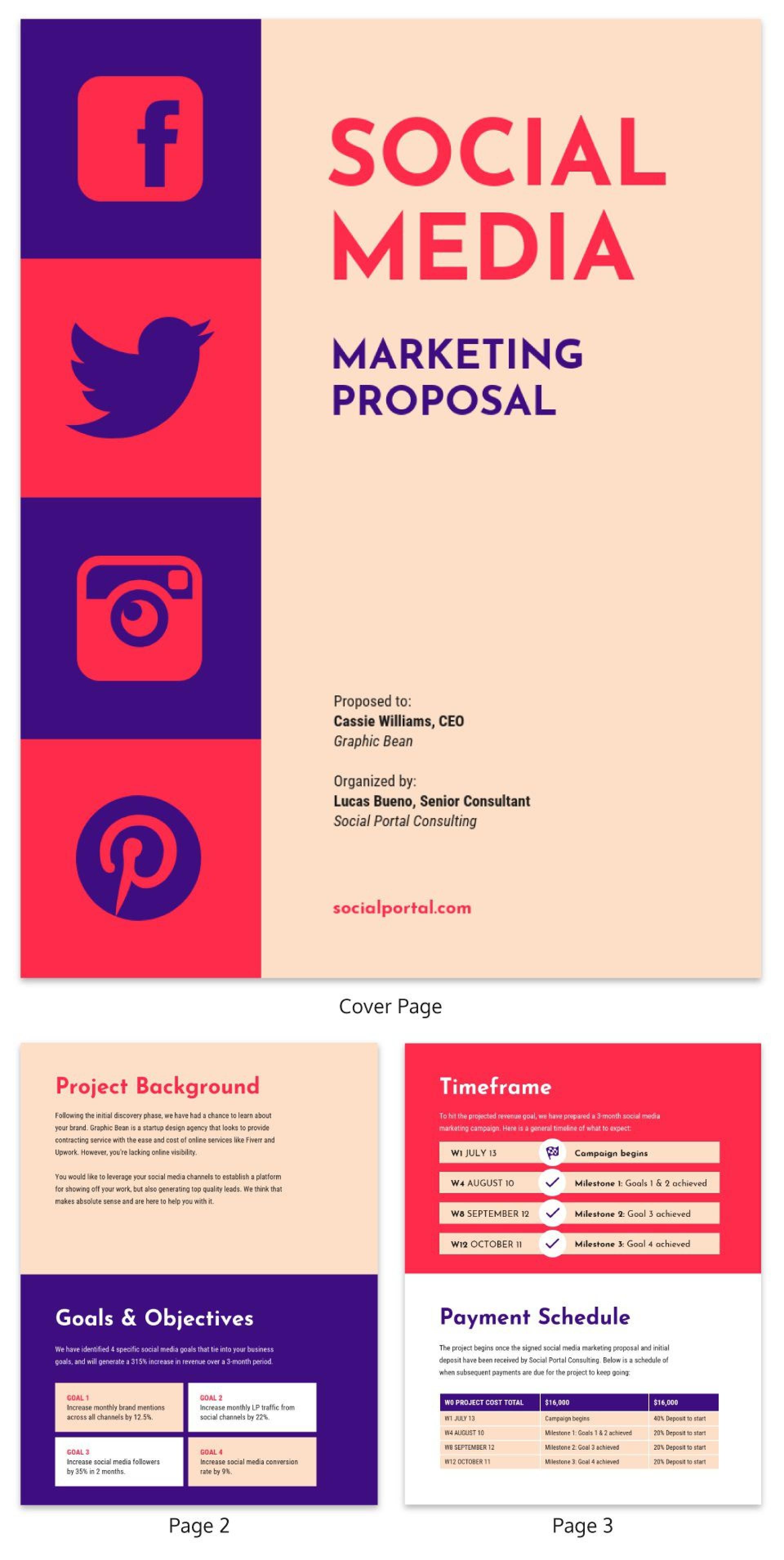 006 Wonderful Social Media Proposal Template Idea  Ppt Marketing Word 20191920