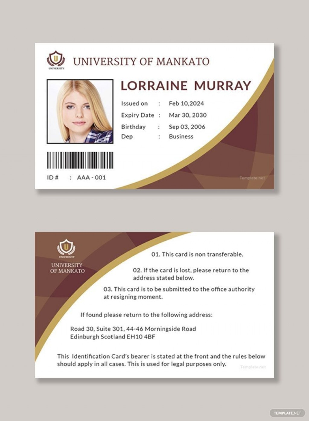 006 Wonderful Student Id Card Template Design  Free Download Word Employee Microsoft Vertical Identity PsdLarge