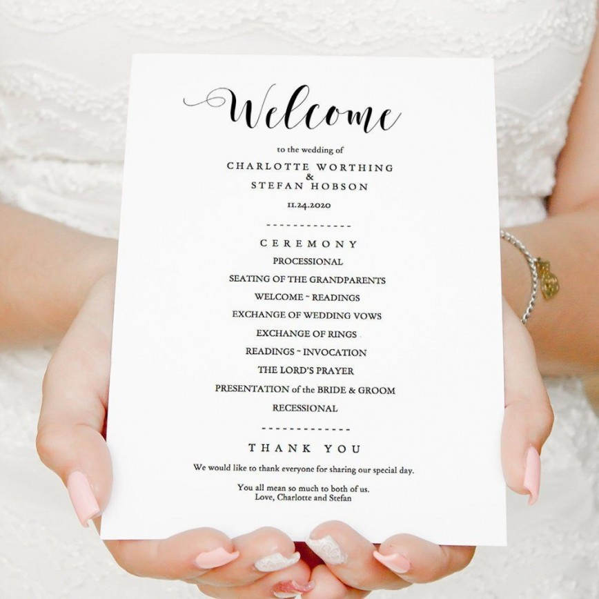 006 Wonderful Wedding Order Of Service Template Free Highest Clarity  Front Cover Download Church868