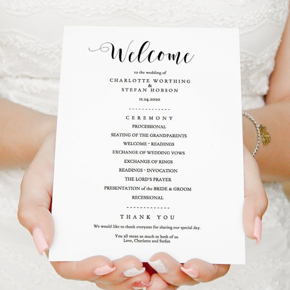 006 Wonderful Wedding Order Of Service Template Free Highest Clarity  Front Cover Download Church960