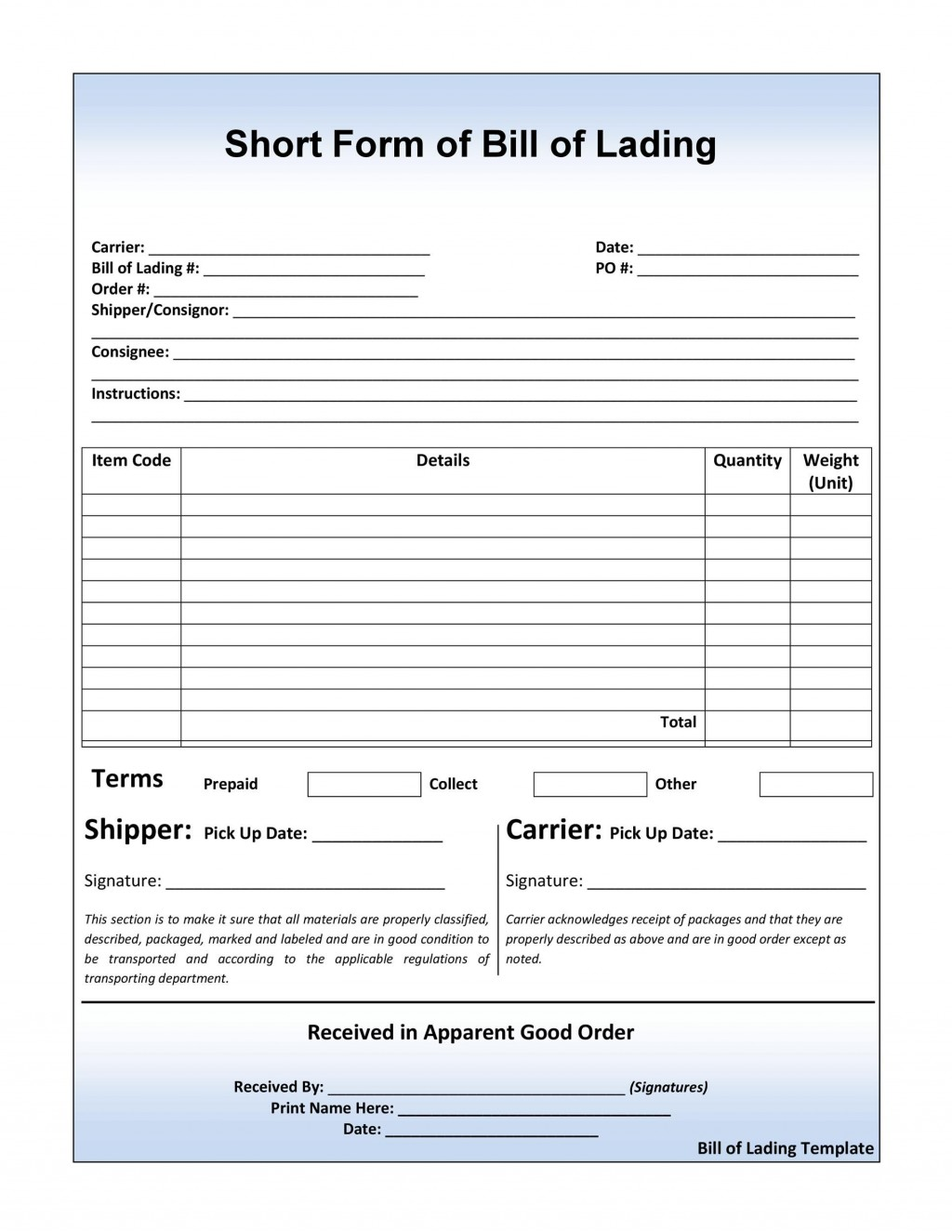 006 Wondrou Bill Of Lading Template Word Doc Picture  Document FormLarge