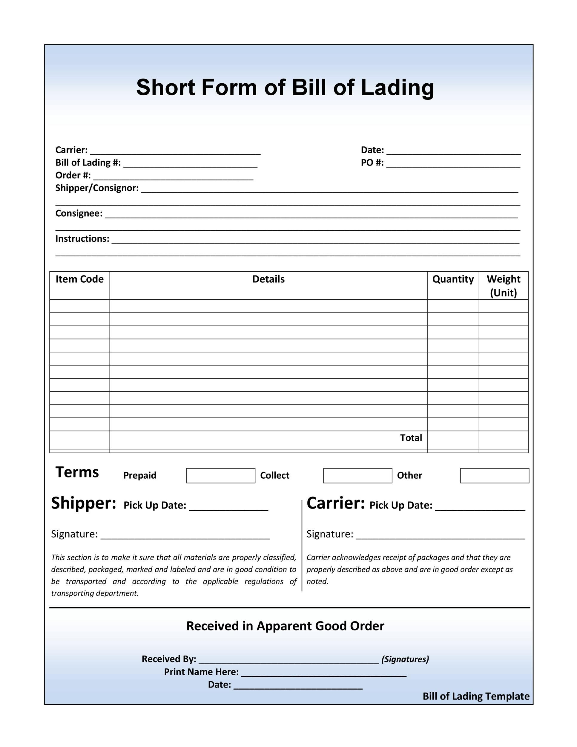 006 Wondrou Bill Of Lading Template Word Doc Picture  Document FormFull