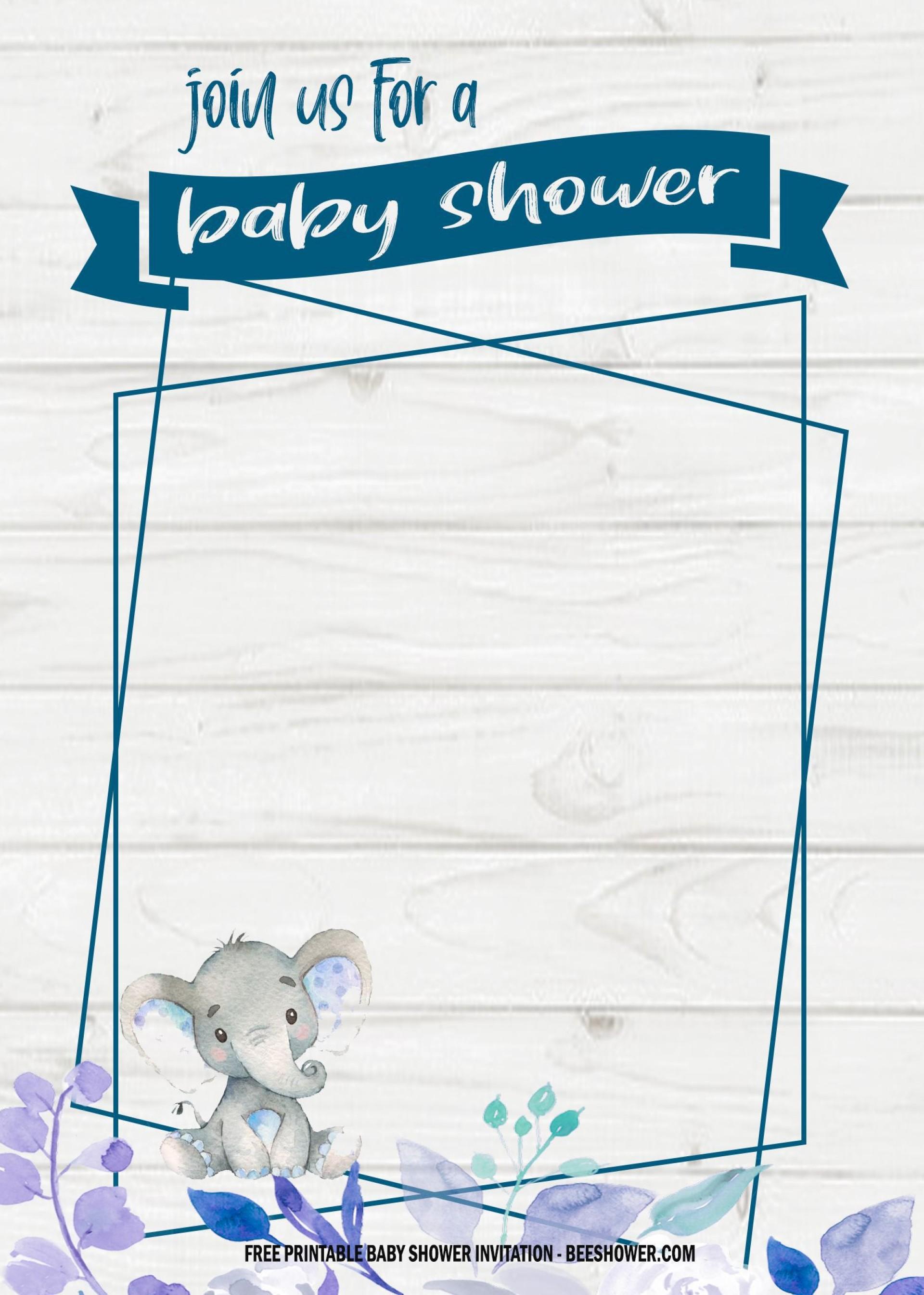 006 Wondrou Elephant Girl Baby Shower Invitation Template High Def  Templates Pink1920