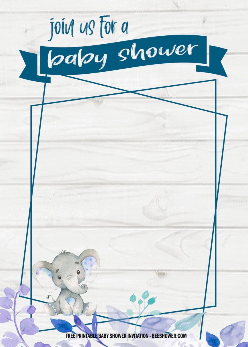 006 Wondrou Elephant Girl Baby Shower Invitation Template High Def  Templates Pink