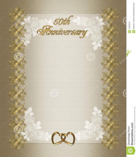 006 Wondrou Free Printable 50th Wedding Anniversary Invitation Template Design 480