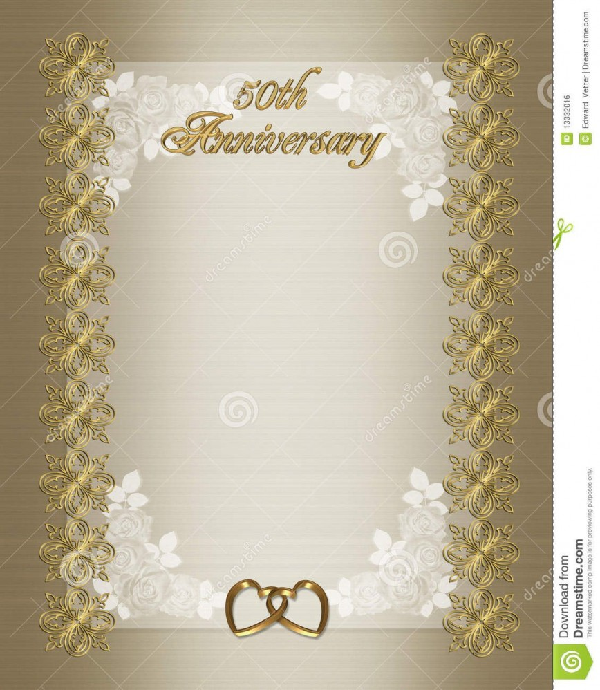 006 Wondrou Free Printable 50th Wedding Anniversary Invitation Template Design 868