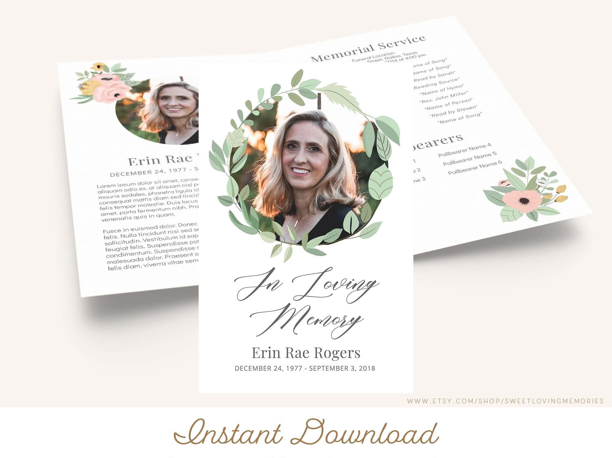 006 Wondrou Memorial Card Template Free Download Inspiration Full