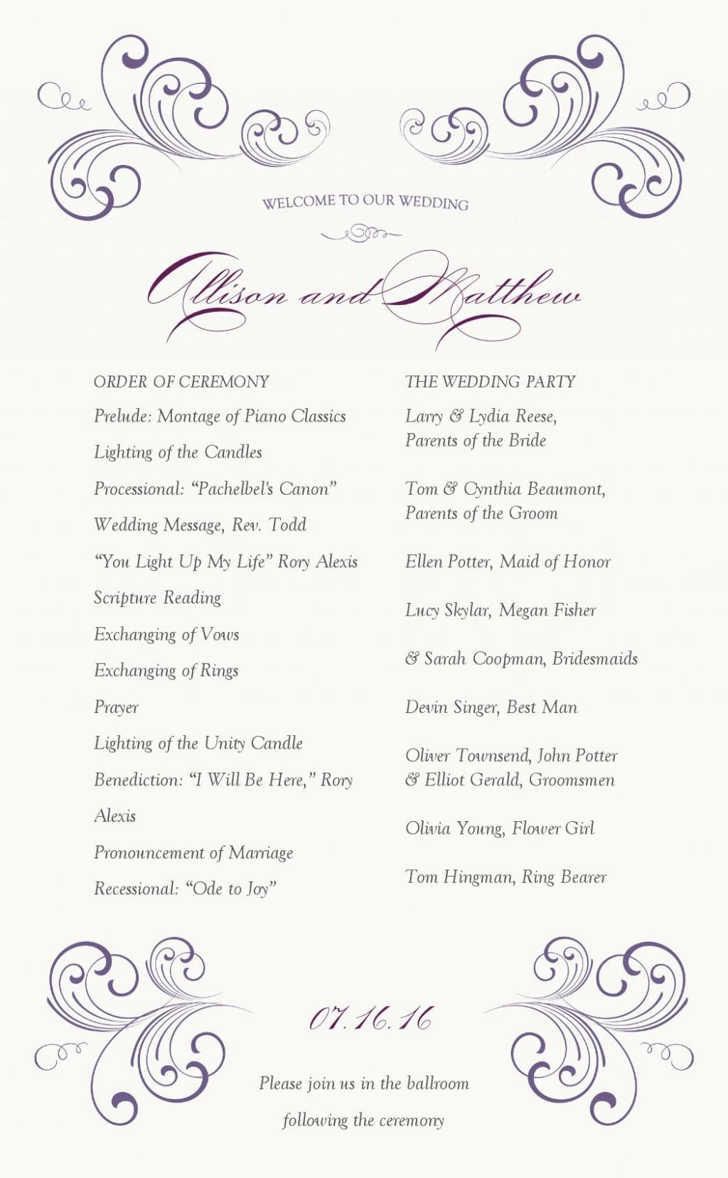 006 Wondrou One Page Wedding Program Template Highest Clarity  Ceremony FreeLarge