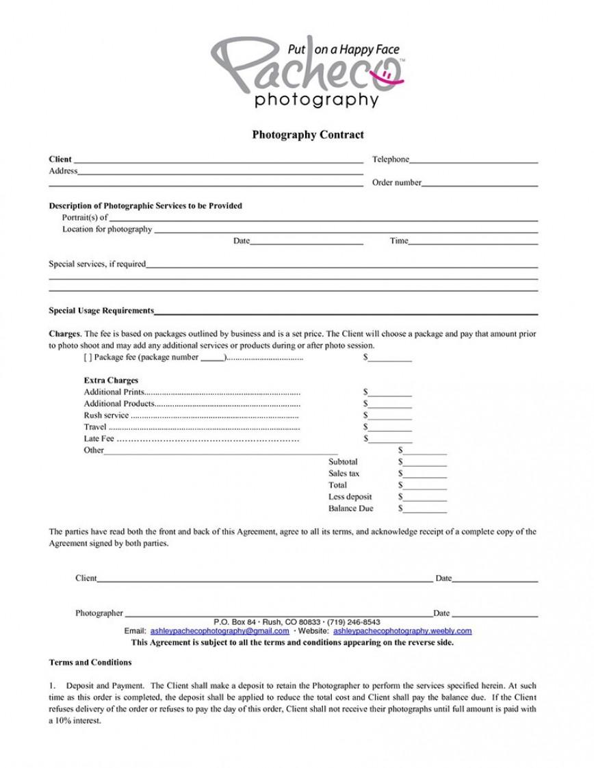 006 Wondrou Photography Contract Template Pdf Concept  Event Free