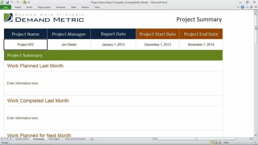 006 Wondrou Project Statu Report Template Excel Image  Free Progres Format XlLarge
