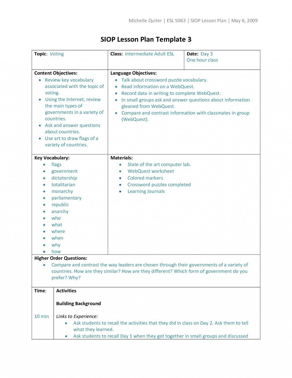 006 Wondrou Siop Lesson Plan Template 1 Design  Example First Grade Word Document 1stLarge