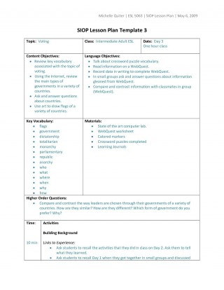 006 Wondrou Siop Lesson Plan Template 1 Design  Example First Grade Word Document 1st320