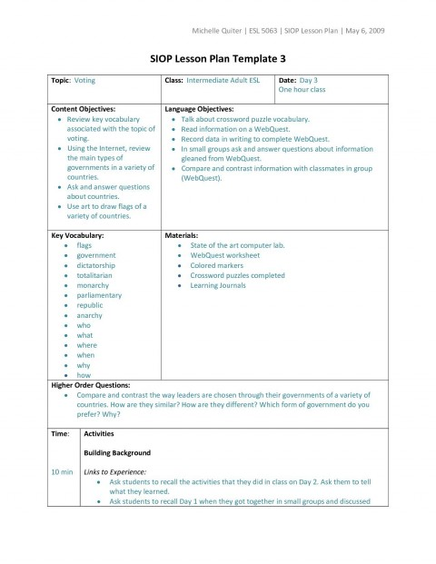 006 Wondrou Siop Lesson Plan Template 1 Design  Example First Grade Word Document 1st480