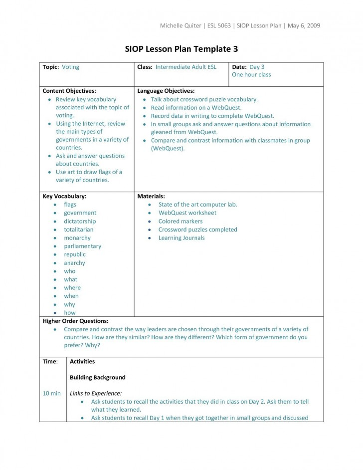 006 Wondrou Siop Lesson Plan Template 1 Design  Example First Grade Word Document 1st728