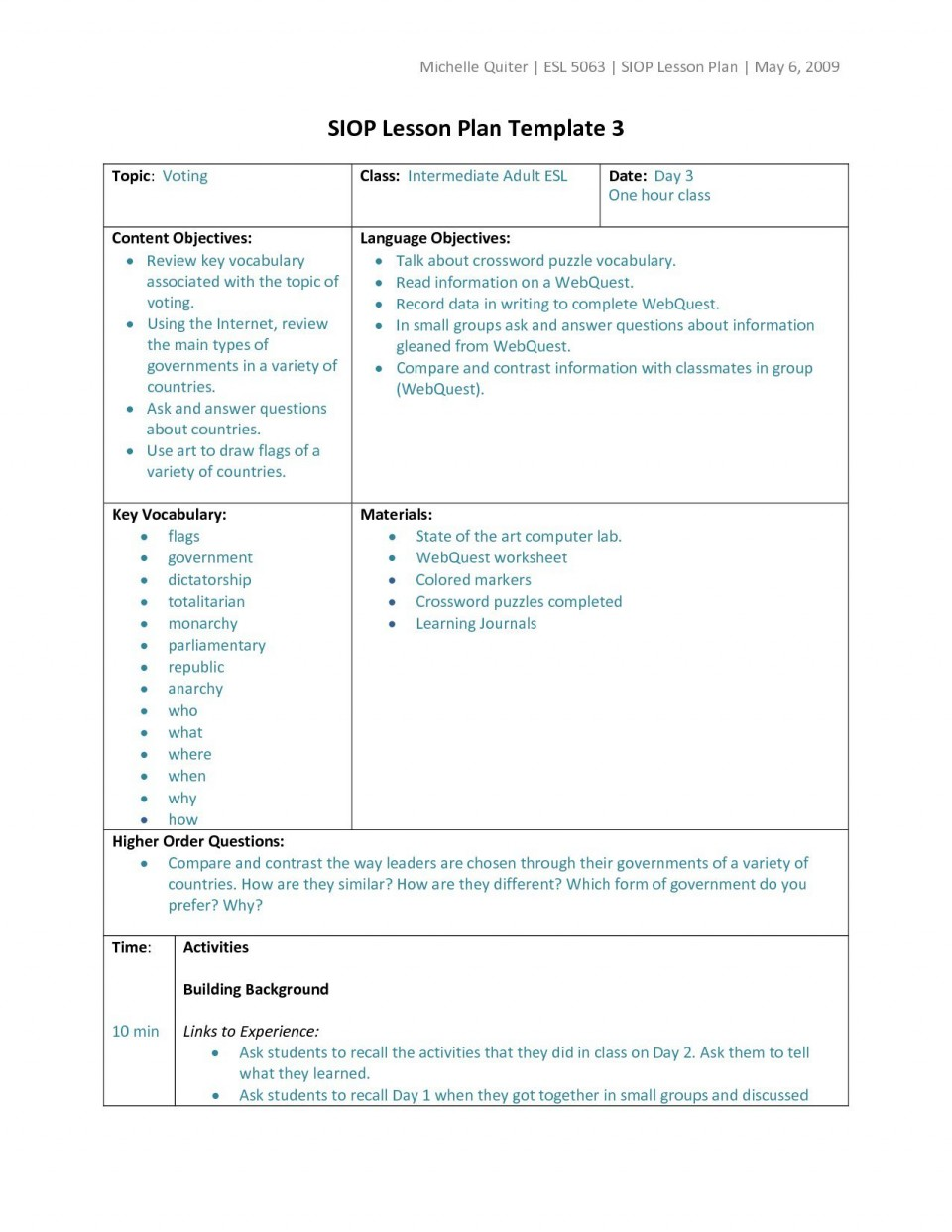 006 Wondrou Siop Lesson Plan Template 1 Design  Example First Grade Word Document 1st960