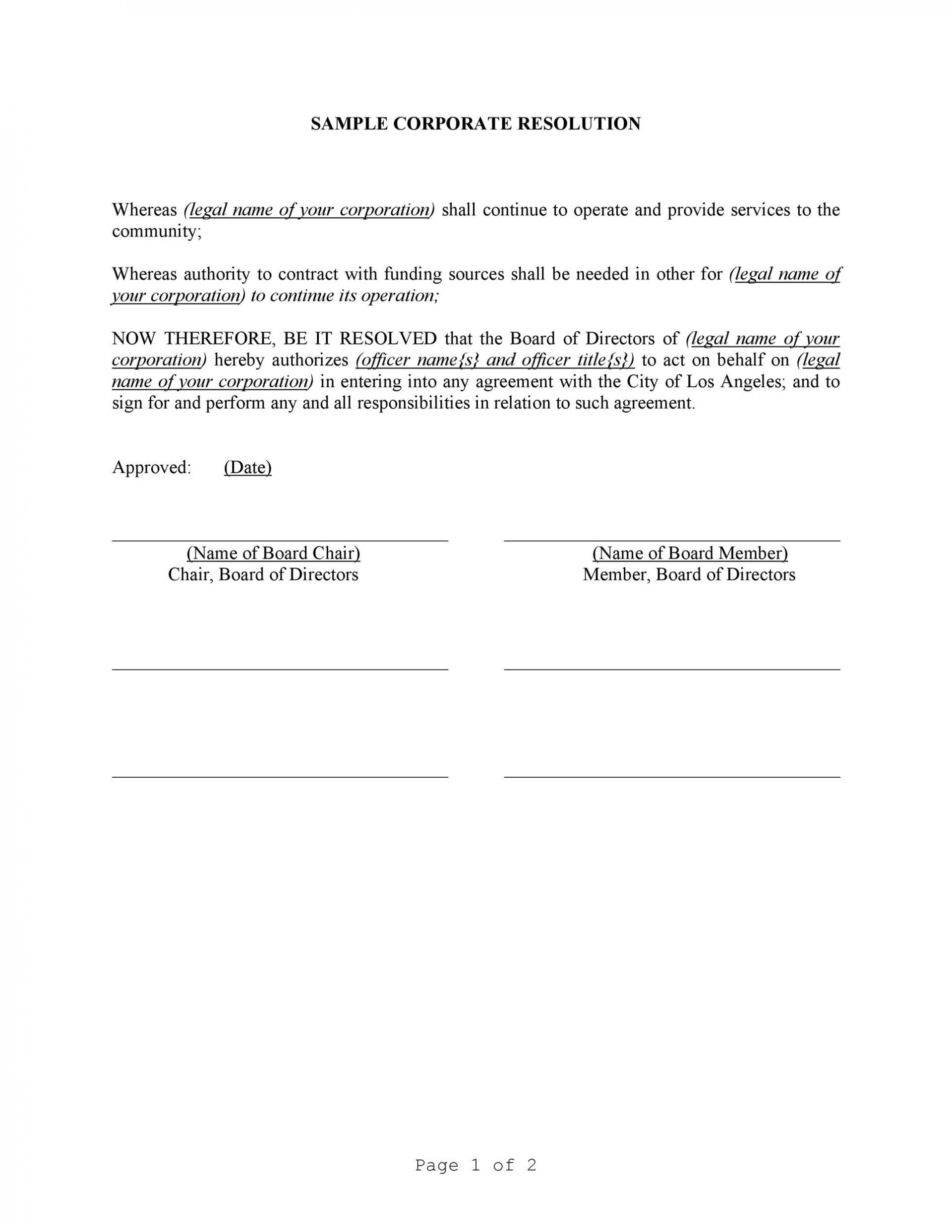 007 Amazing Corporate Resolution Template Microsoft Word High  Free1920