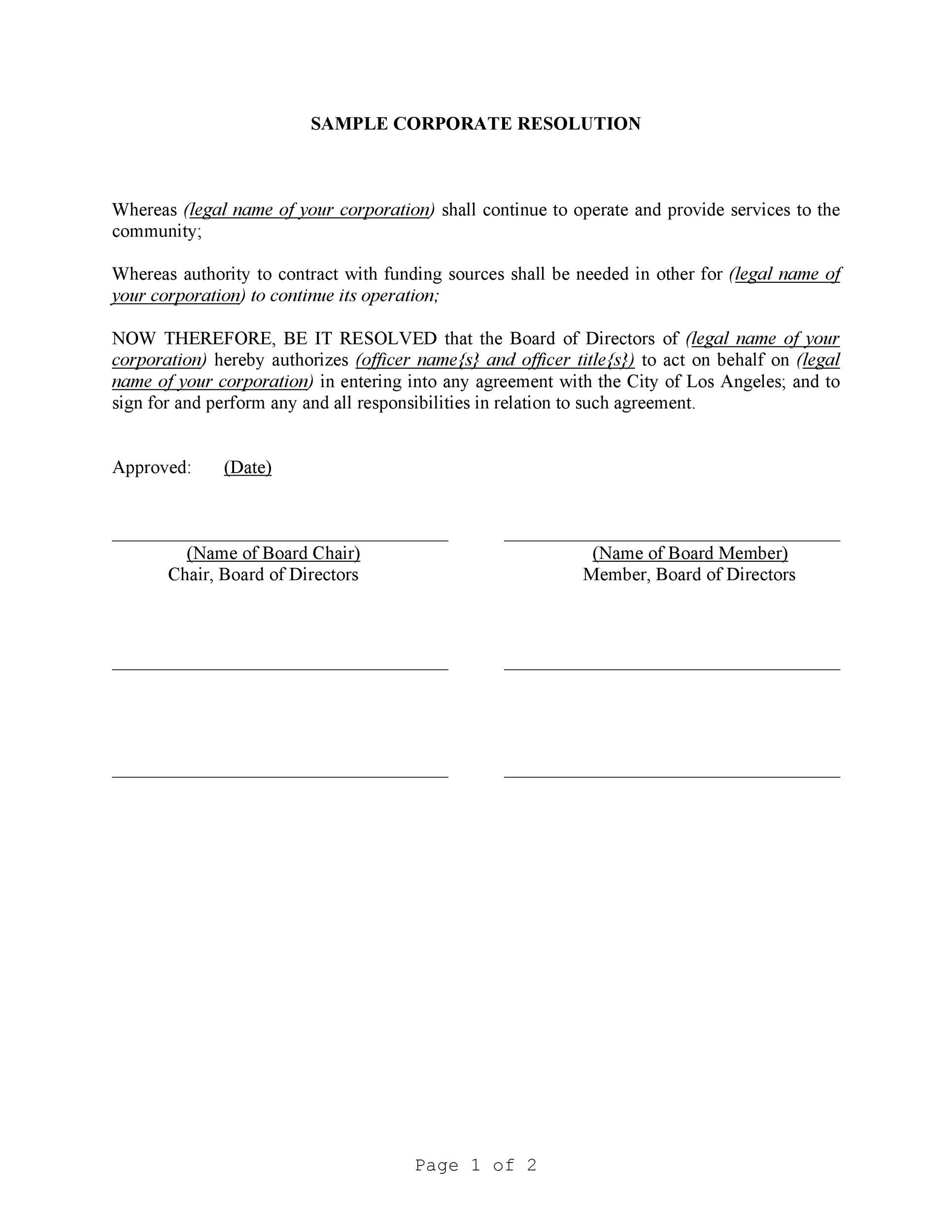 007 Amazing Corporate Resolution Template Microsoft Word High  FreeFull