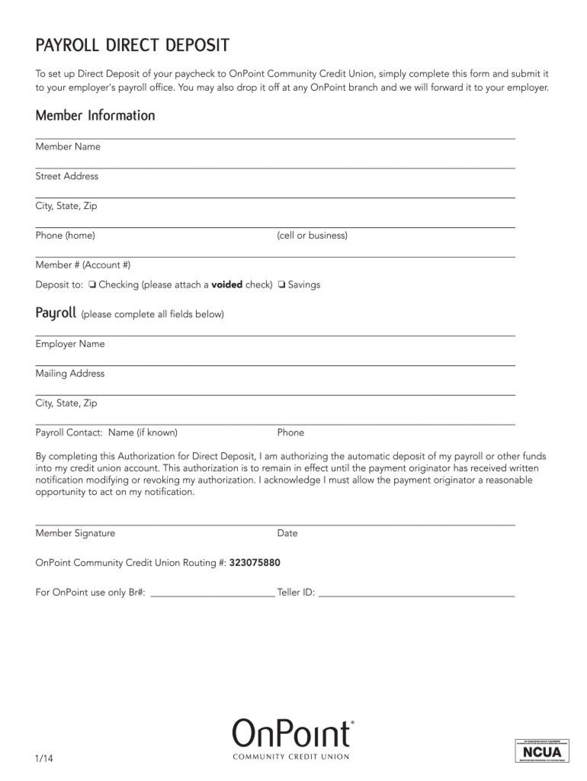 007 Amazing Direct Deposit Form Template Photo  Multiple Account Ach Authorization1920