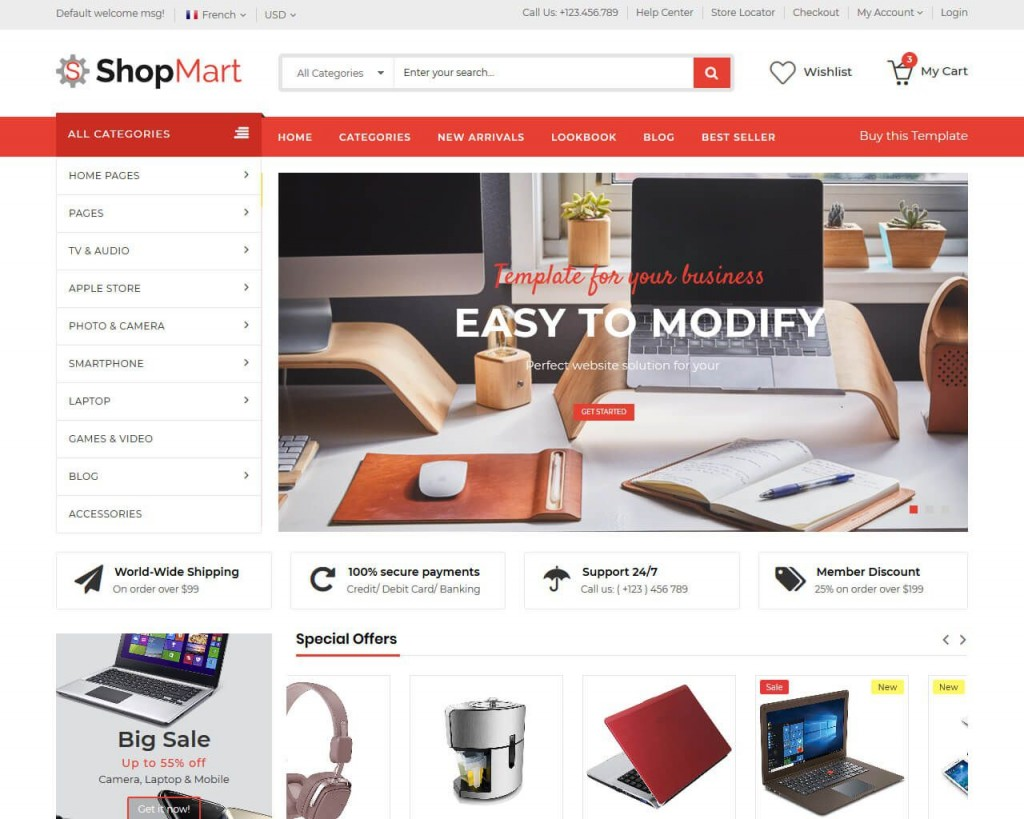 007 Amazing Free Ecommerce Website Template Example  With Shopping Cart Admin Panel BootstrapLarge