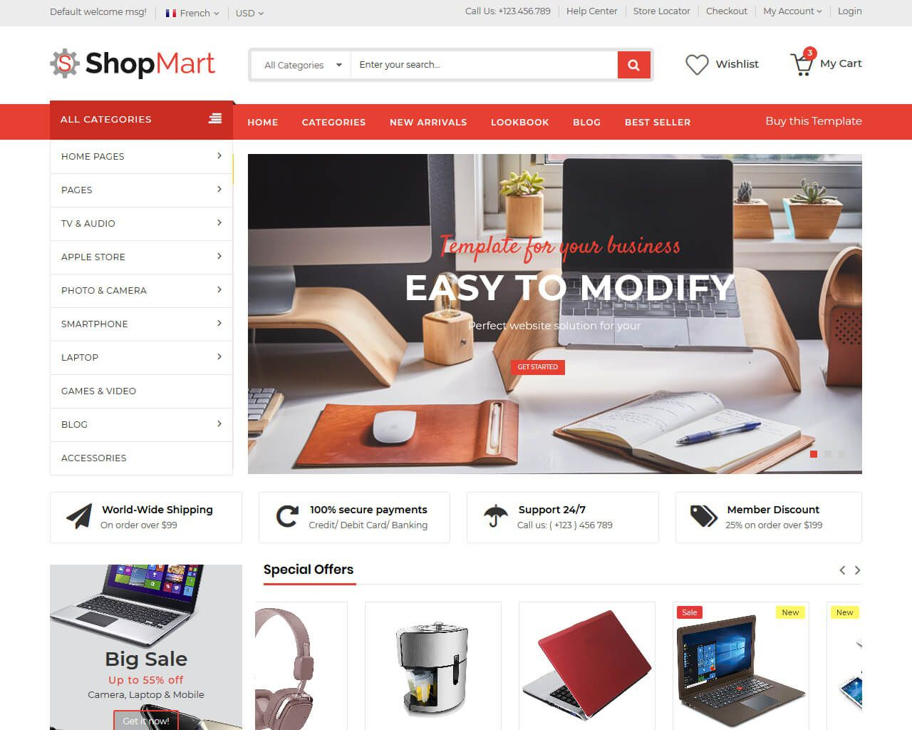 007 Amazing Free Ecommerce Website Template Example  With Shopping Cart Admin Panel BootstrapFull
