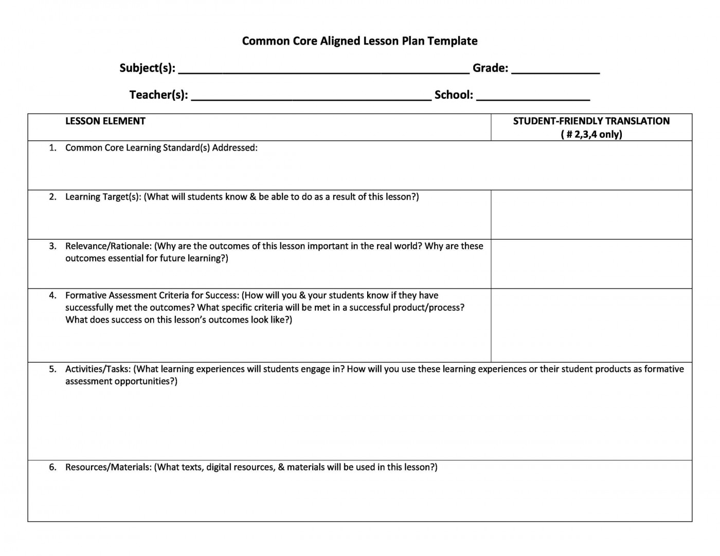 007 Amazing Kindergarten Lesson Plan Template With Common Core Standard Picture  Sample Using1400