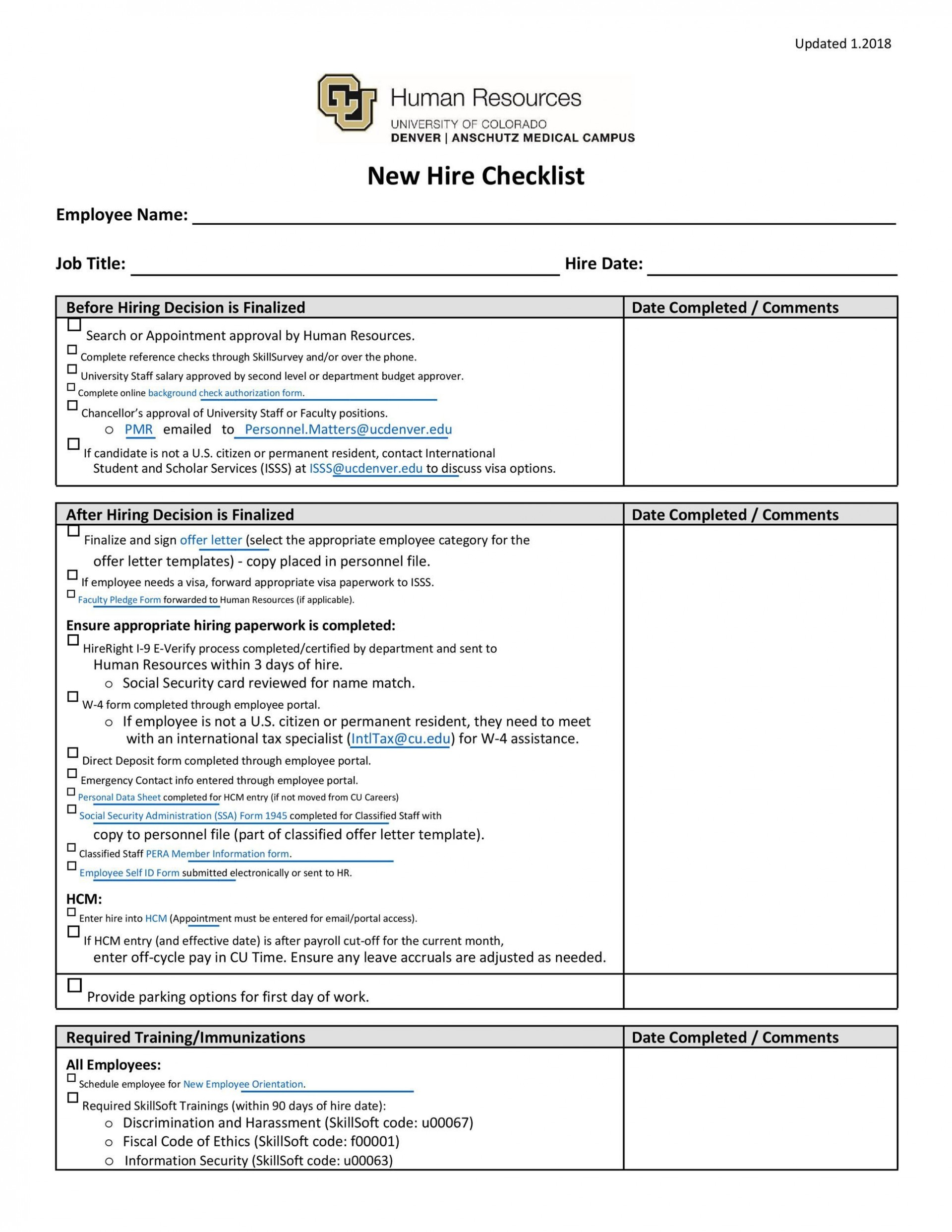 007 Amazing New Hire Checklist Template Sample  Employee Onboarding Excel Free Pdf1920