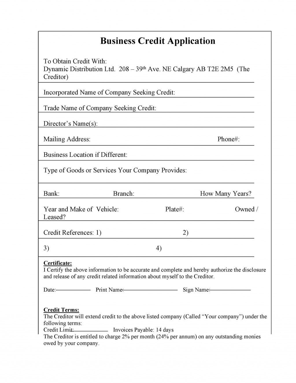 007 Archaicawful Busines Credit Application Form Free Inspiration  TemplateLarge