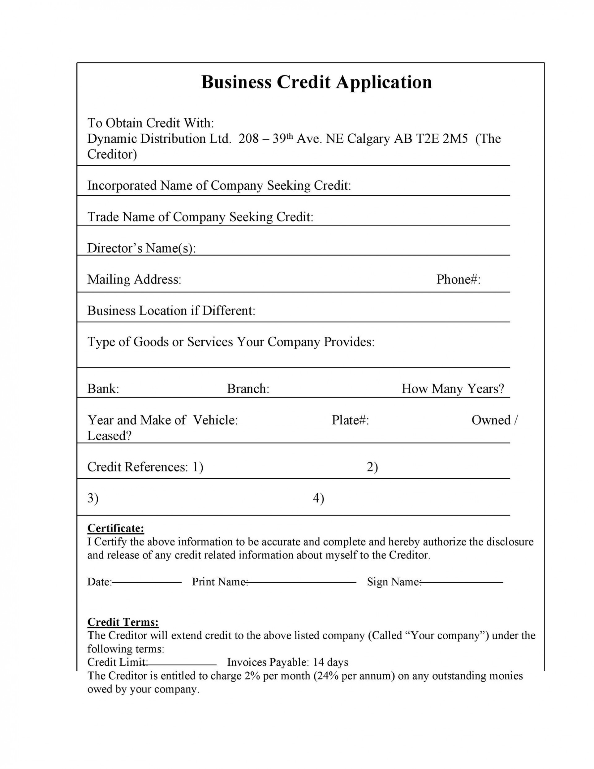 007 Archaicawful Busines Credit Application Form Free Inspiration  Template1920
