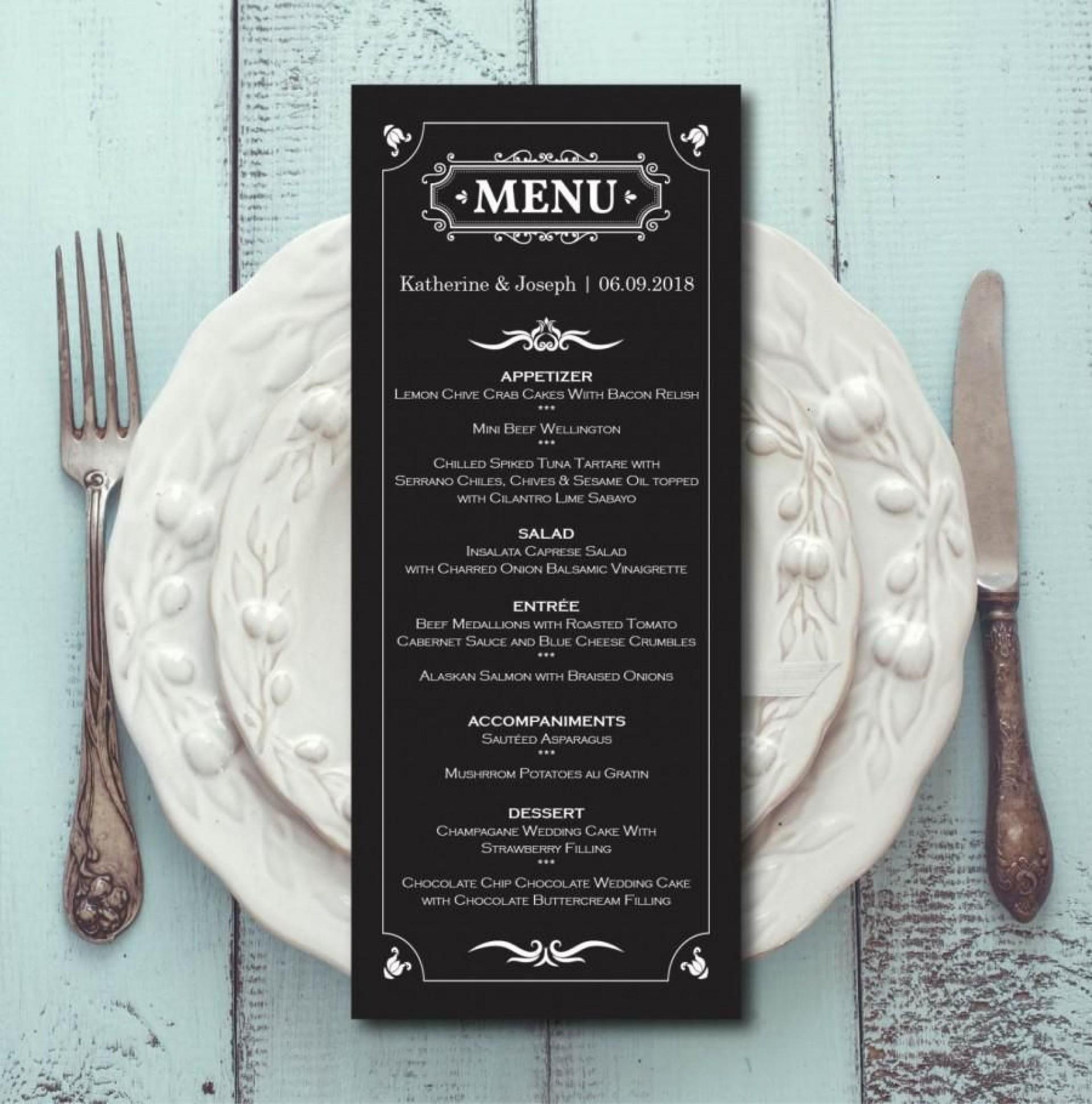 007 Archaicawful Elegant Wedding Menu Card Template Highest Clarity  Templates1920