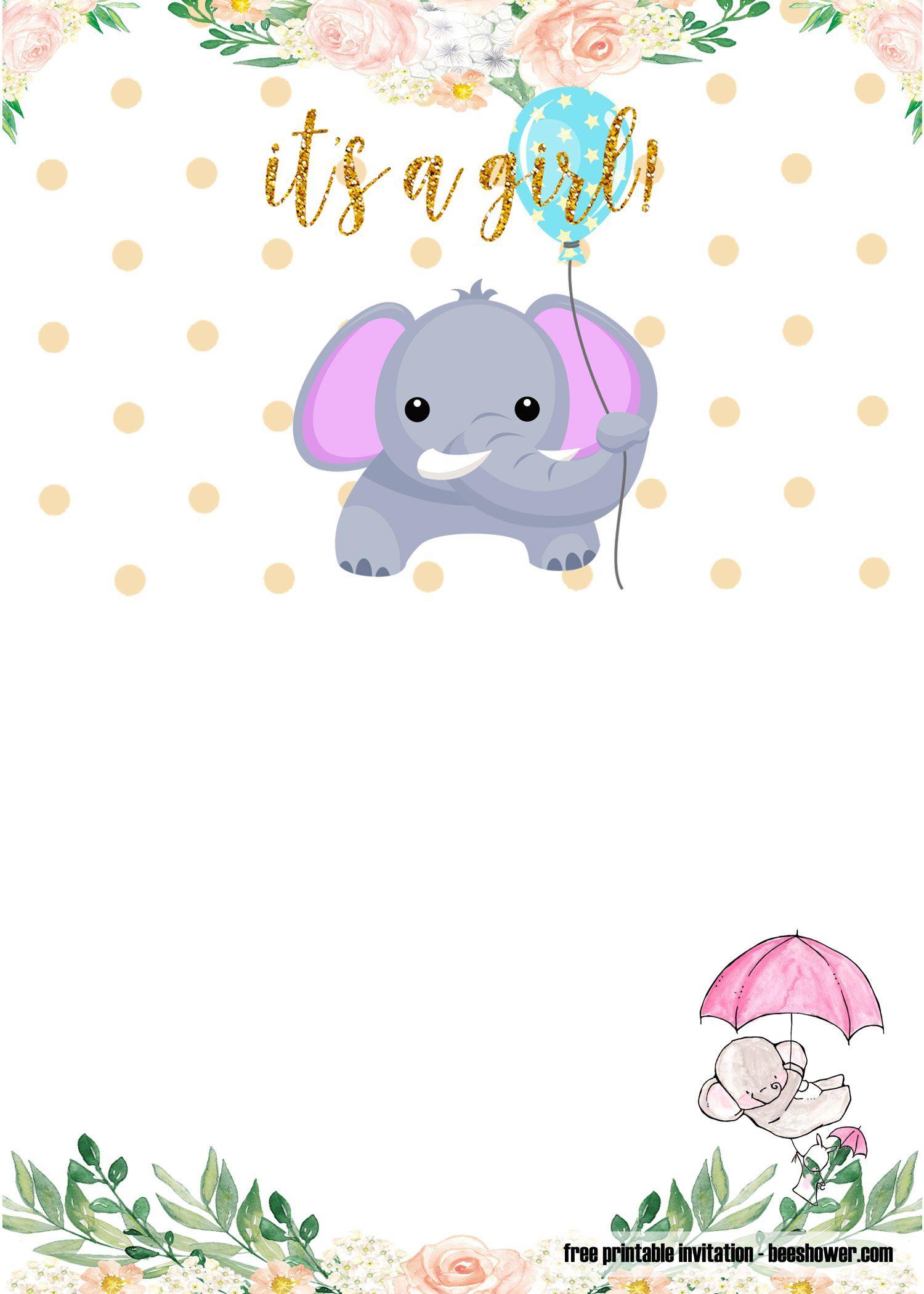 007 Archaicawful Elephant Baby Shower Invitation Template Highest Clarity  Templates Free Pdf BoyFull