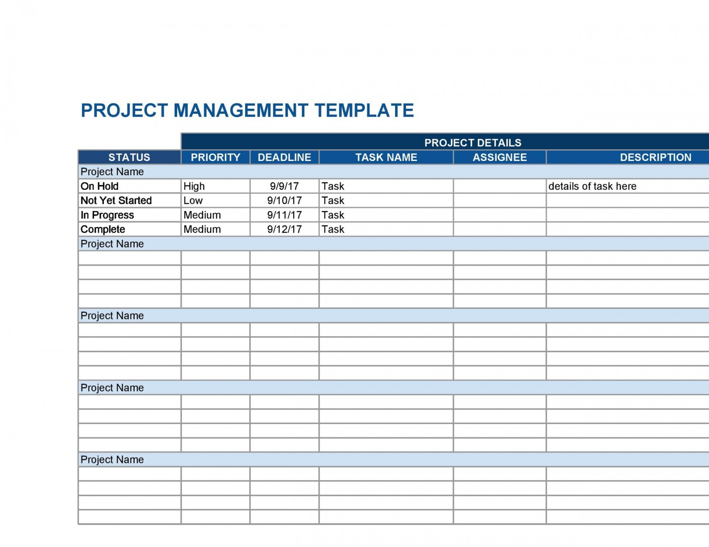 007 Archaicawful Multiple Project Tracking Template Xl Example  Spreadsheet Excel1400