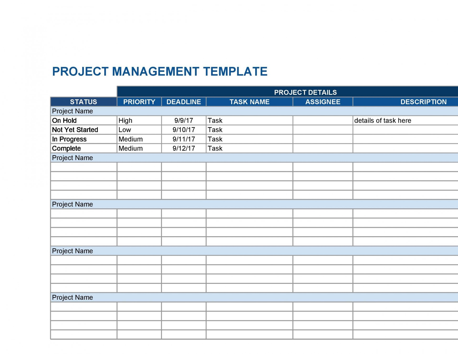 007 Archaicawful Multiple Project Tracking Template Xl Example  Spreadsheet Excel1920