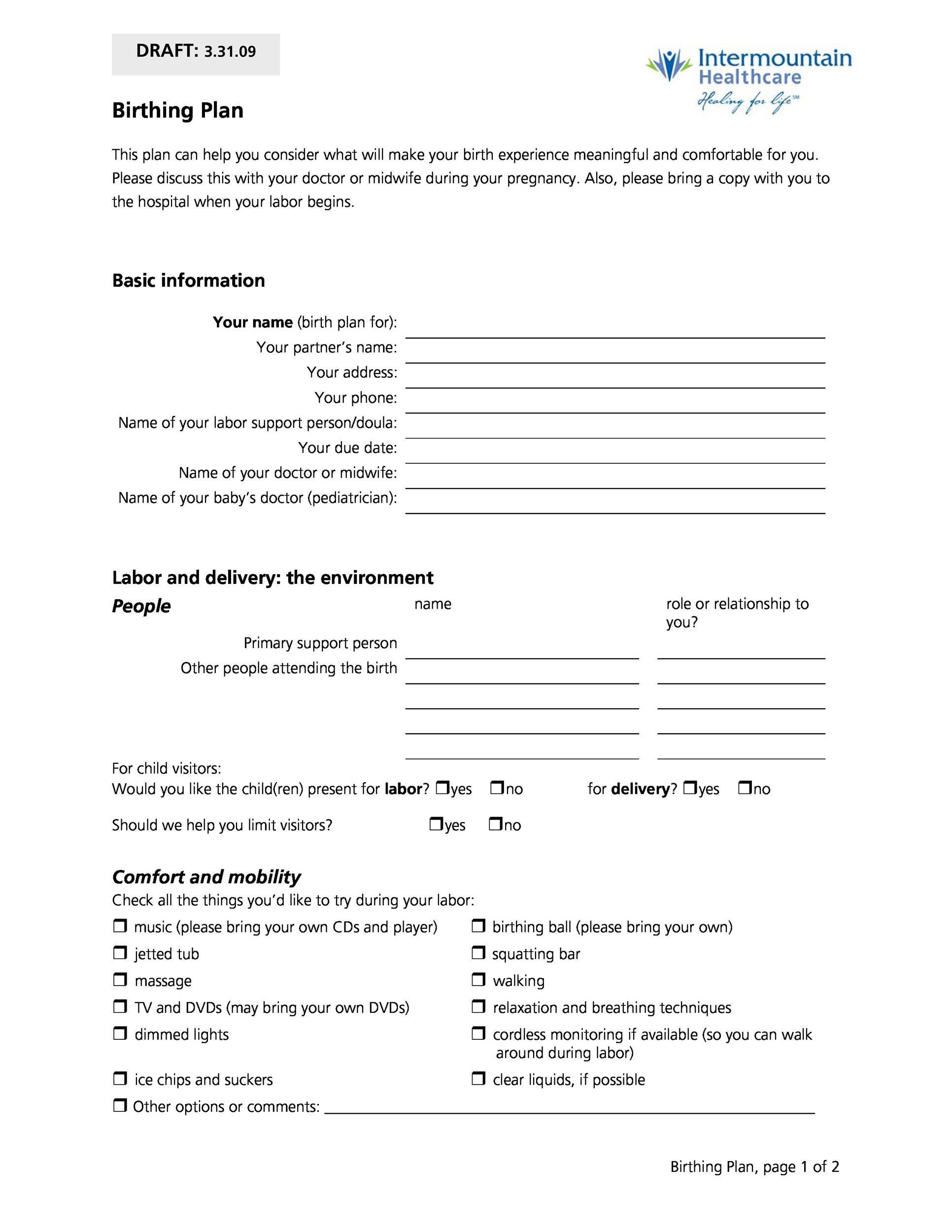007 Archaicawful Printable Birth Plan Template High Definition  Editable Pdf FreeFull