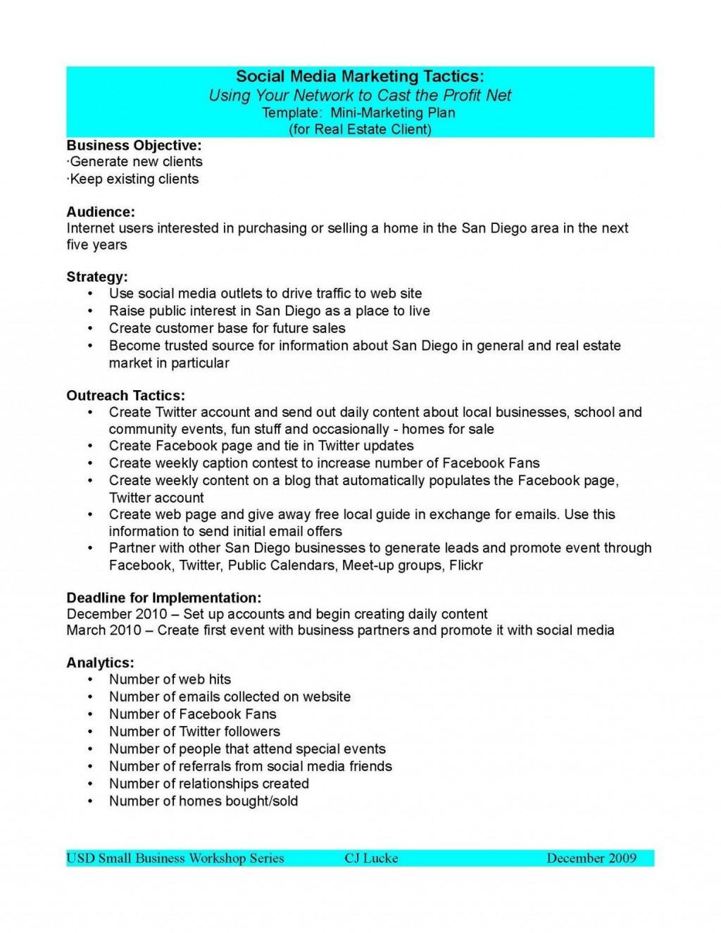 007 Archaicawful Social Media Plan Example Pdf Sample  Template MarketingLarge