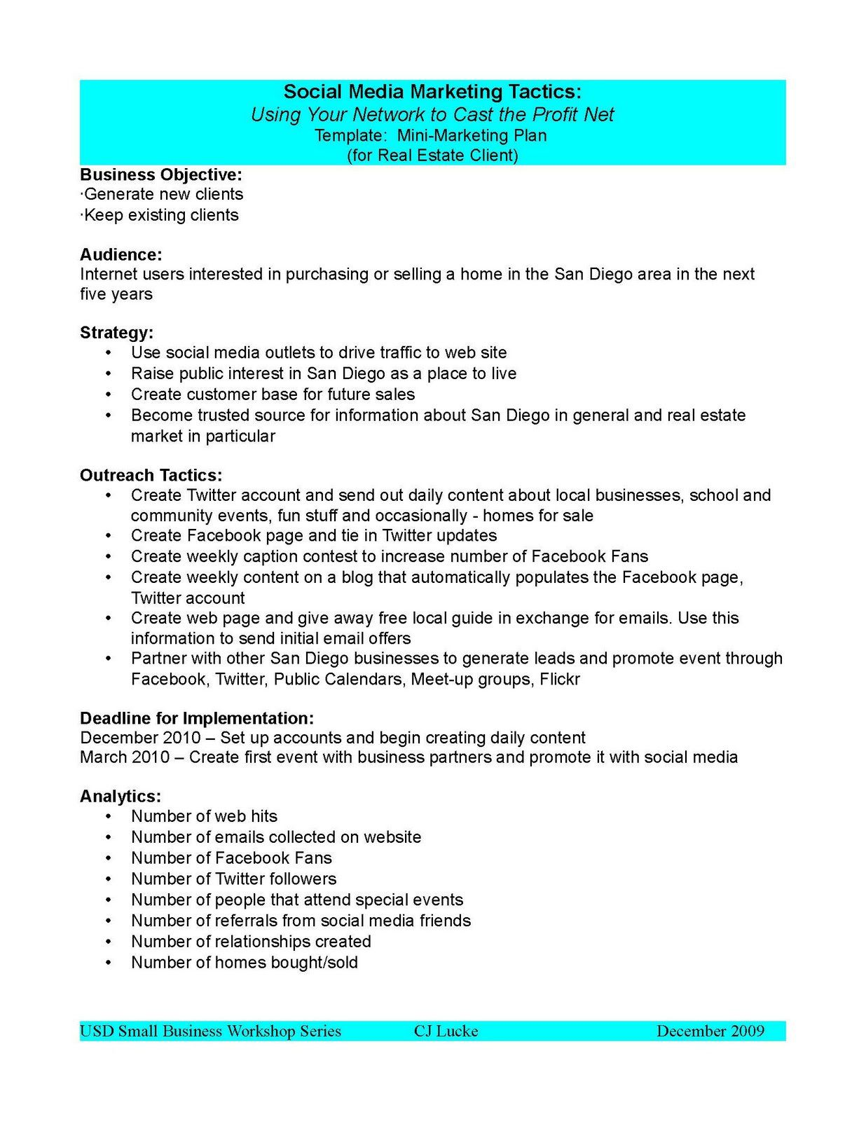007 Archaicawful Social Media Plan Example Pdf Sample  Template MarketingFull