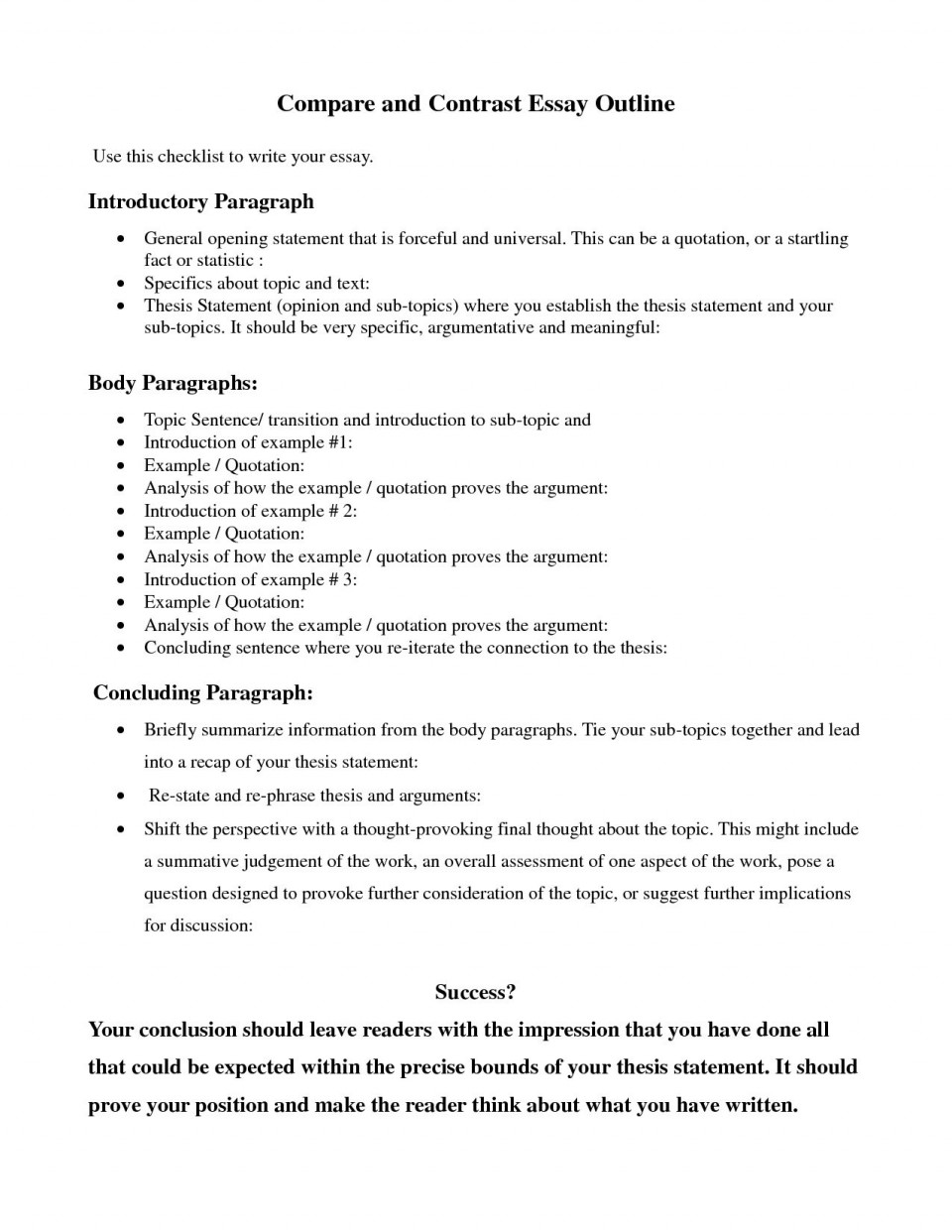 007 Astounding Compare And Contrast Essay Example College High Definition  For Topic Outline960