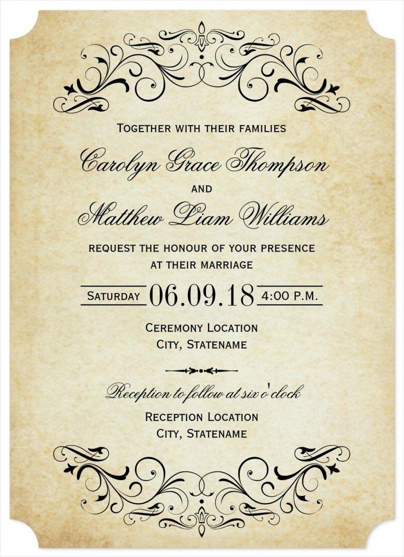 007 Astounding Formal Wedding Invitation Template Free Design Full