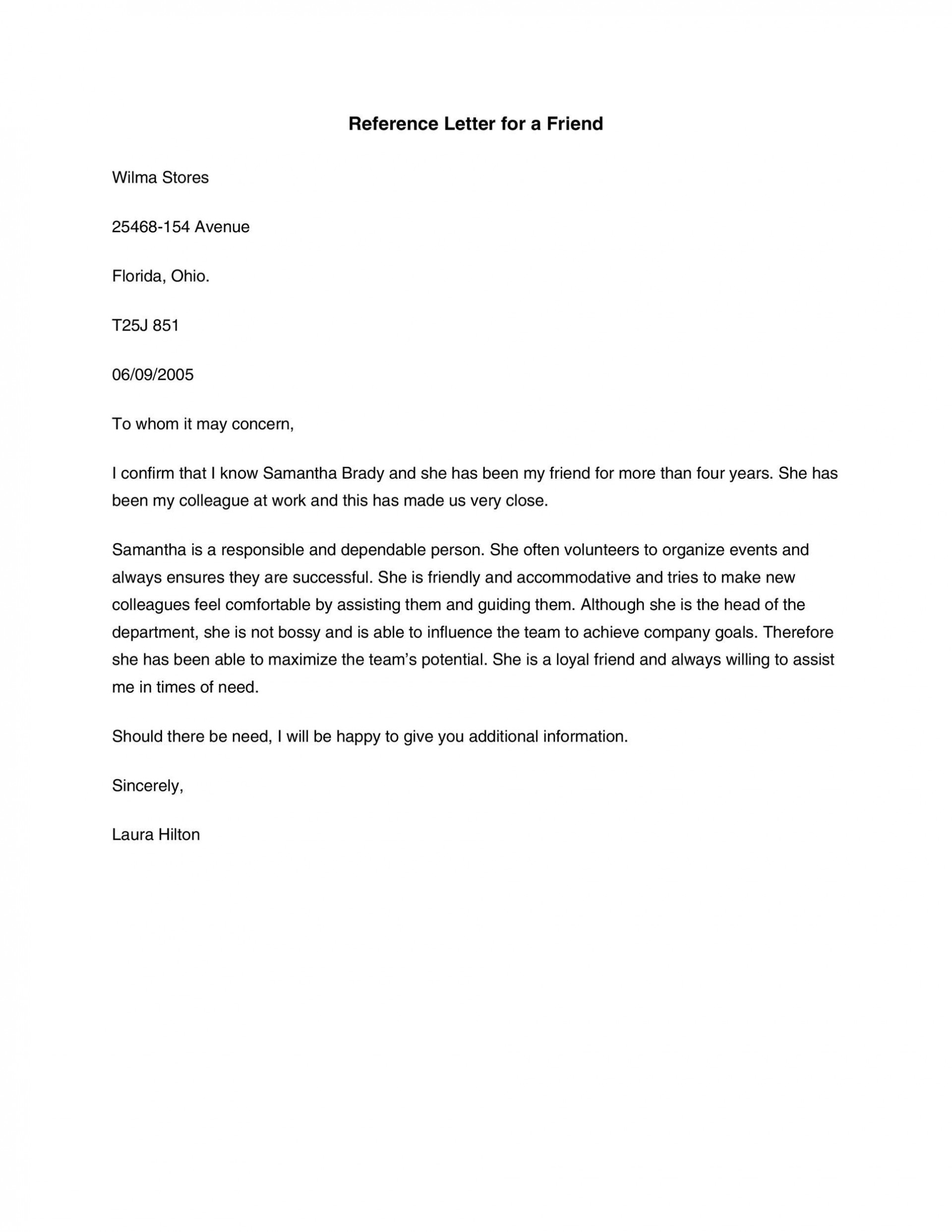 007 Astounding Free Reference Letter Template For Friend Example 1920