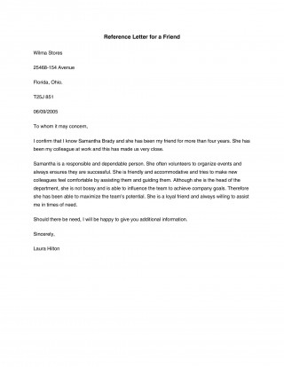 007 Astounding Free Reference Letter Template For Friend Example 320