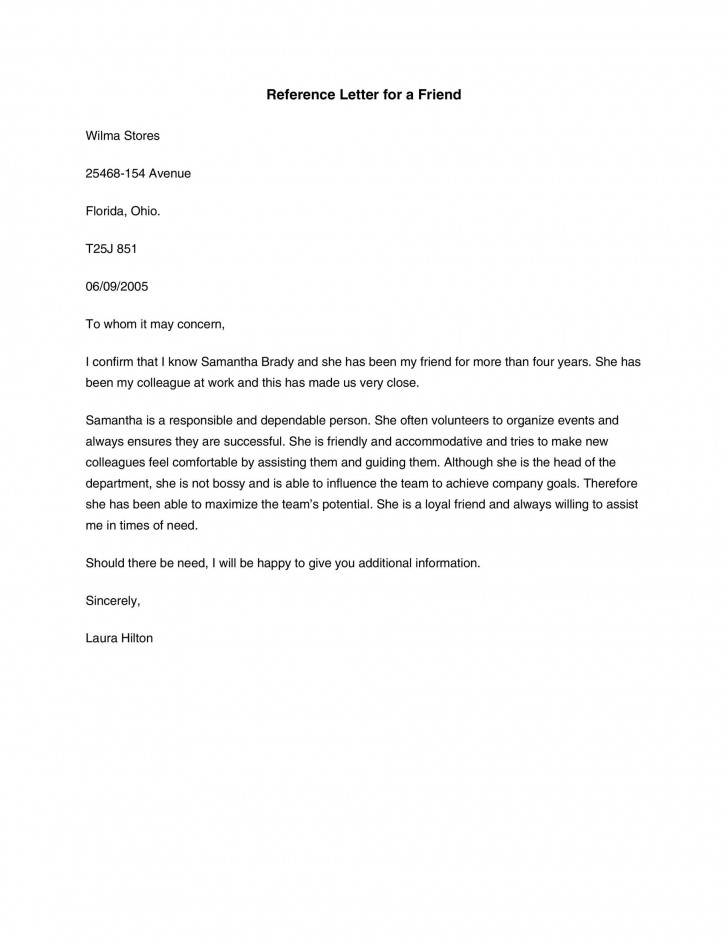 007 Astounding Free Reference Letter Template For Friend Example 728