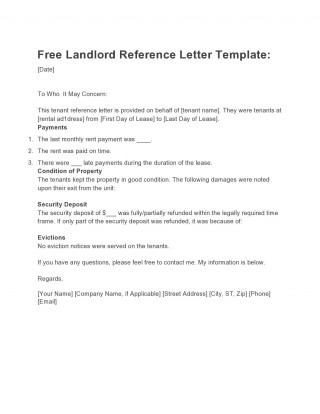 007 Astounding Free Reference Letter Template For Tenant Photo 320