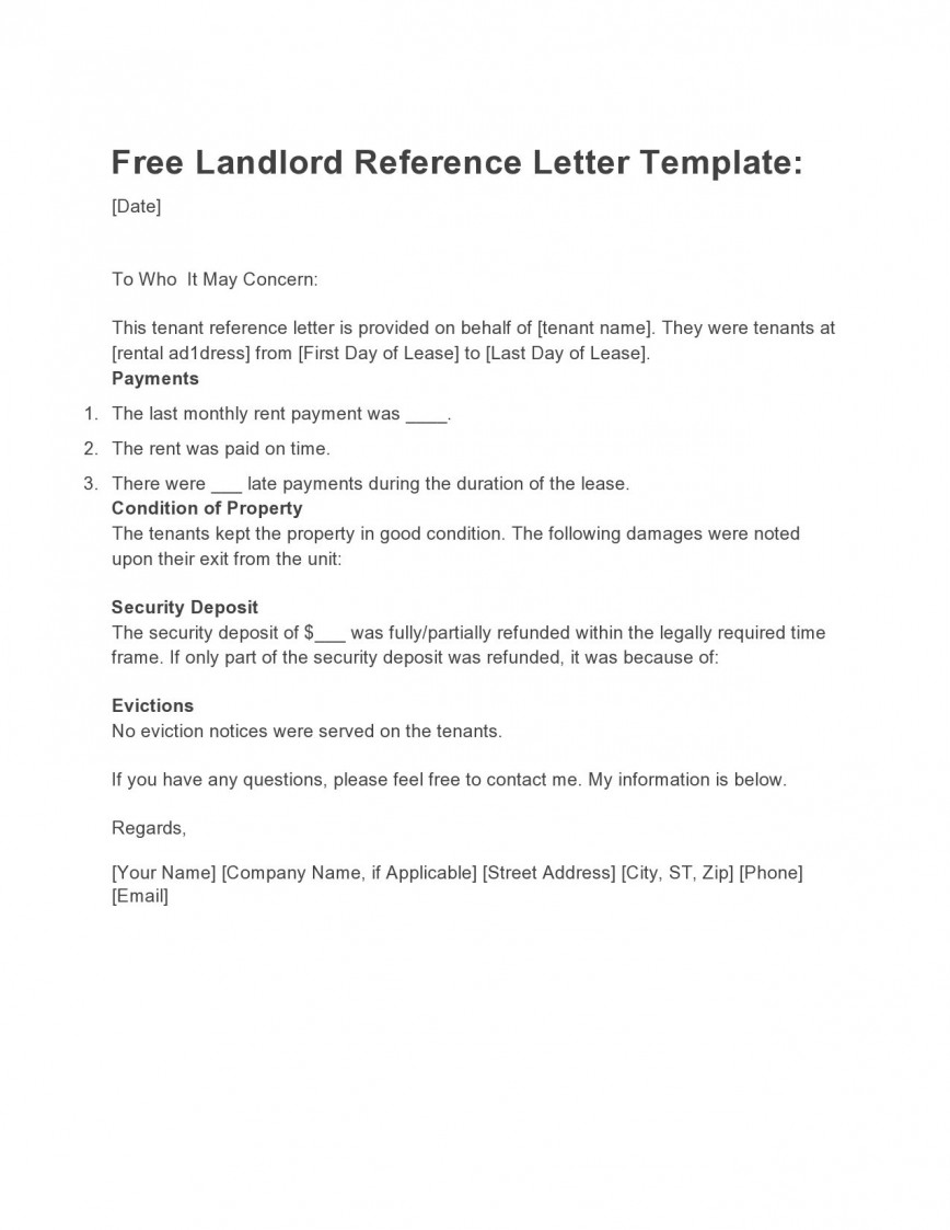 007 Astounding Free Reference Letter Template For Tenant Photo 868