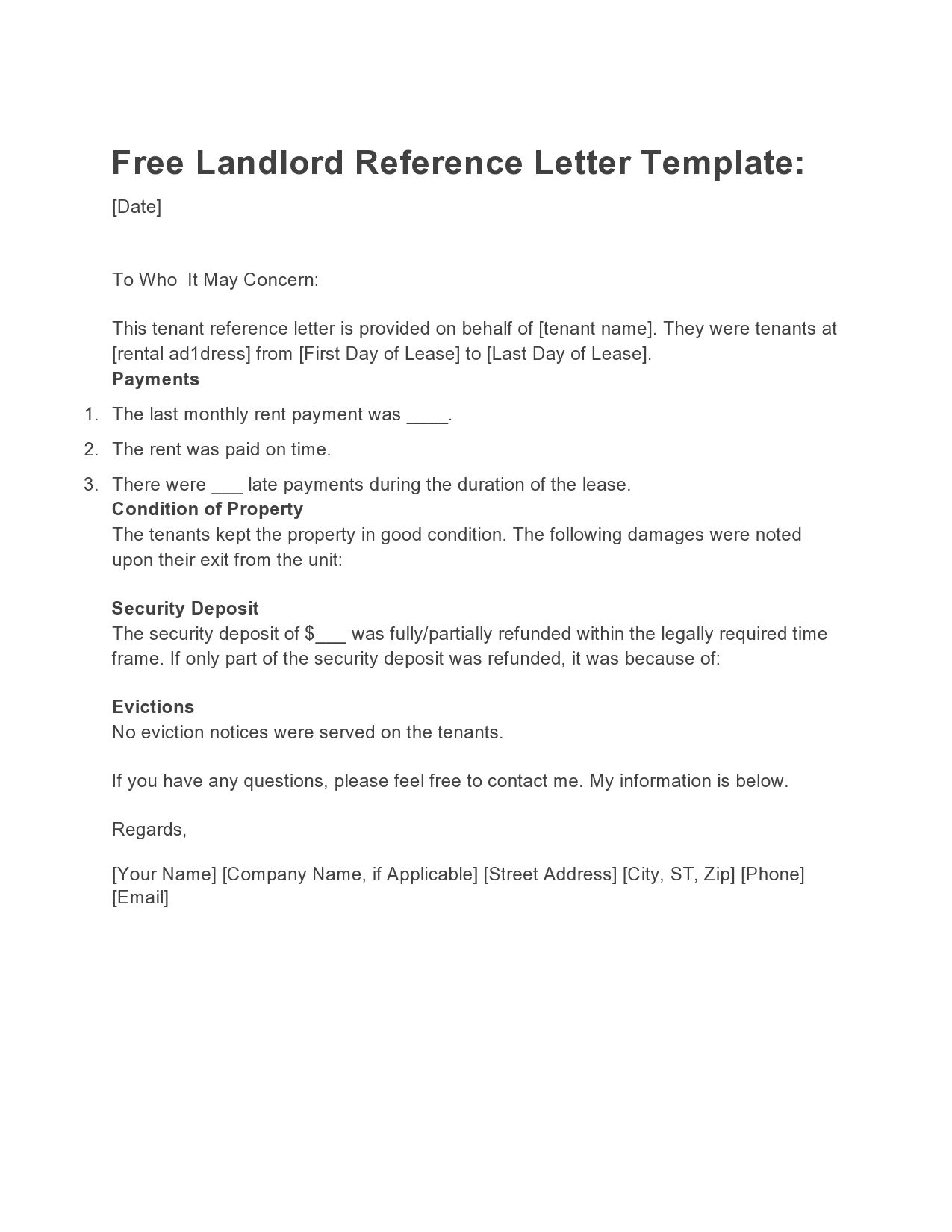 007 Astounding Free Reference Letter Template For Tenant Photo Full