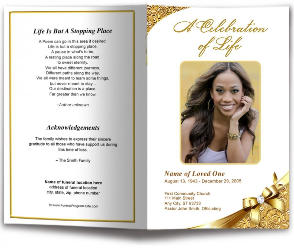 007 Astounding Funeral Program Template Free Example  Printable Design960