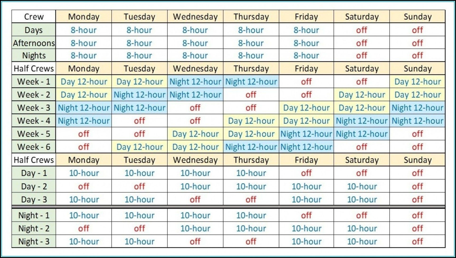 Monthly Work Rotation Schedule Template Addictionary